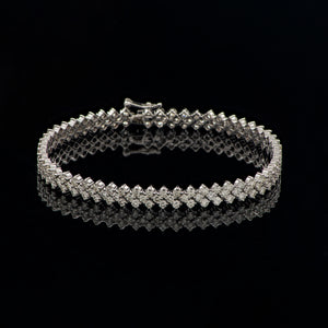 Three Row Diamond Tennis Bracelet