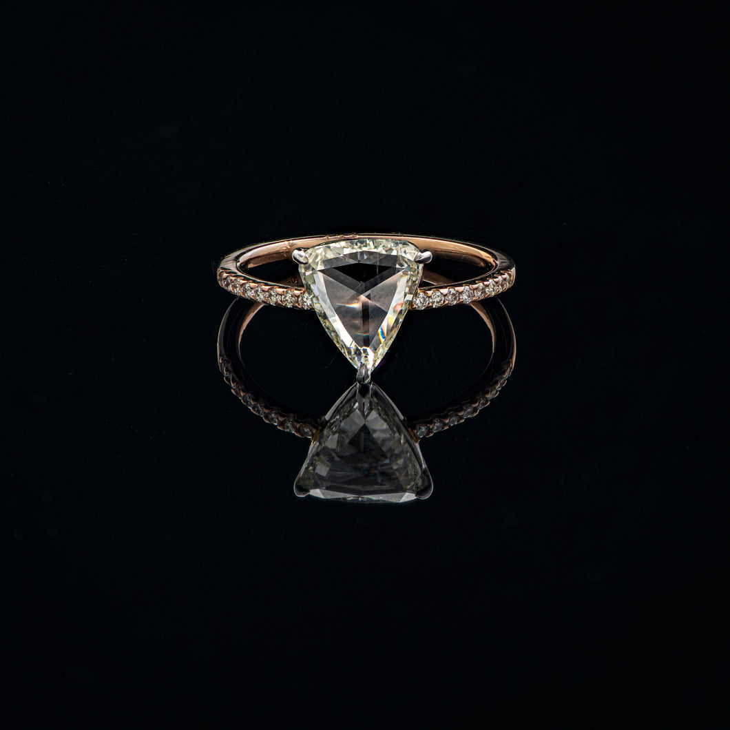 Rosecut Triangular Solitaire Diamond Ring