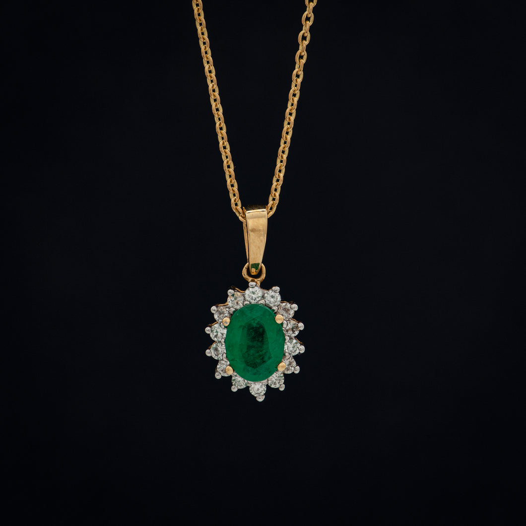 Halo Emerald and Diamond Pendant & Chain