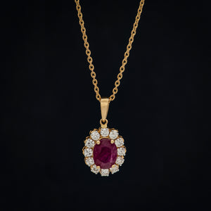 Crimson Red Ruby & Diamond Pendant with Chain