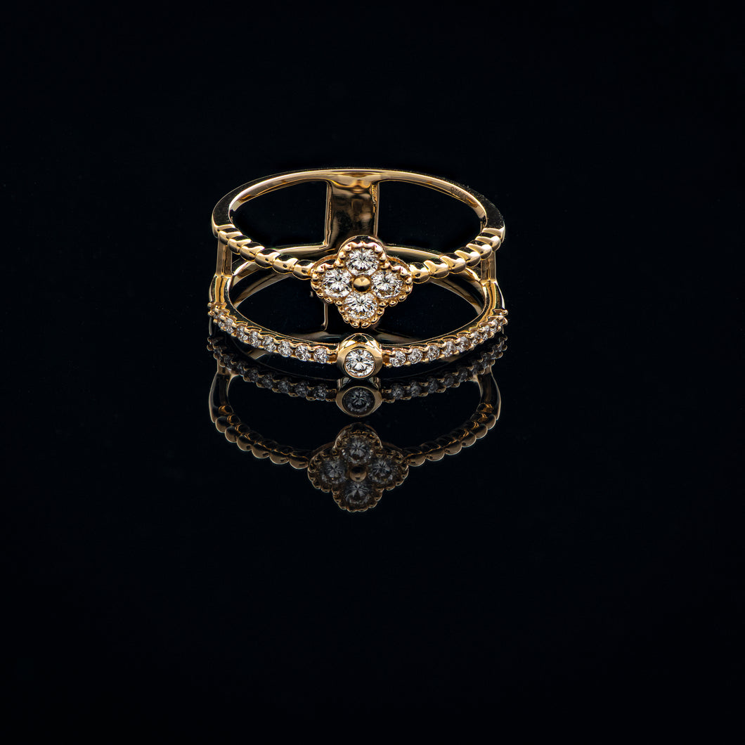 Clover Double Band Diamond Ring