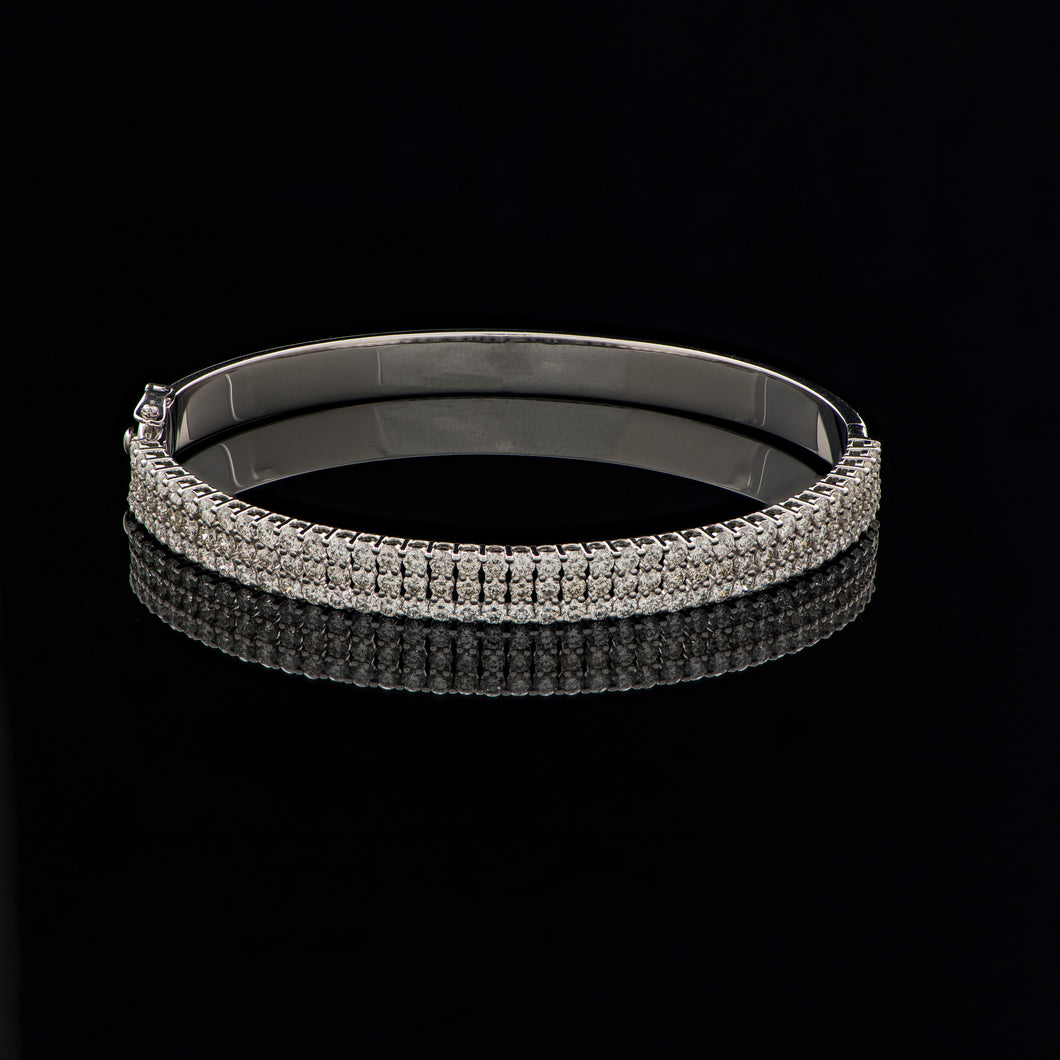 Three Row Diamond Bangle
