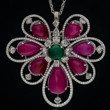 Load image into Gallery viewer, Perennial Ruby, Emerald & Diamond Pendant with Chain