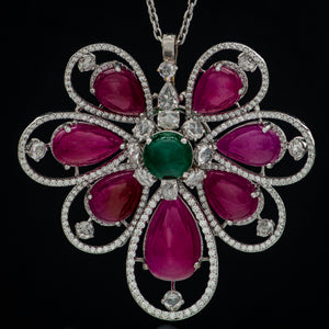 Perennial Ruby, Emerald & Diamond Pendant with Chain