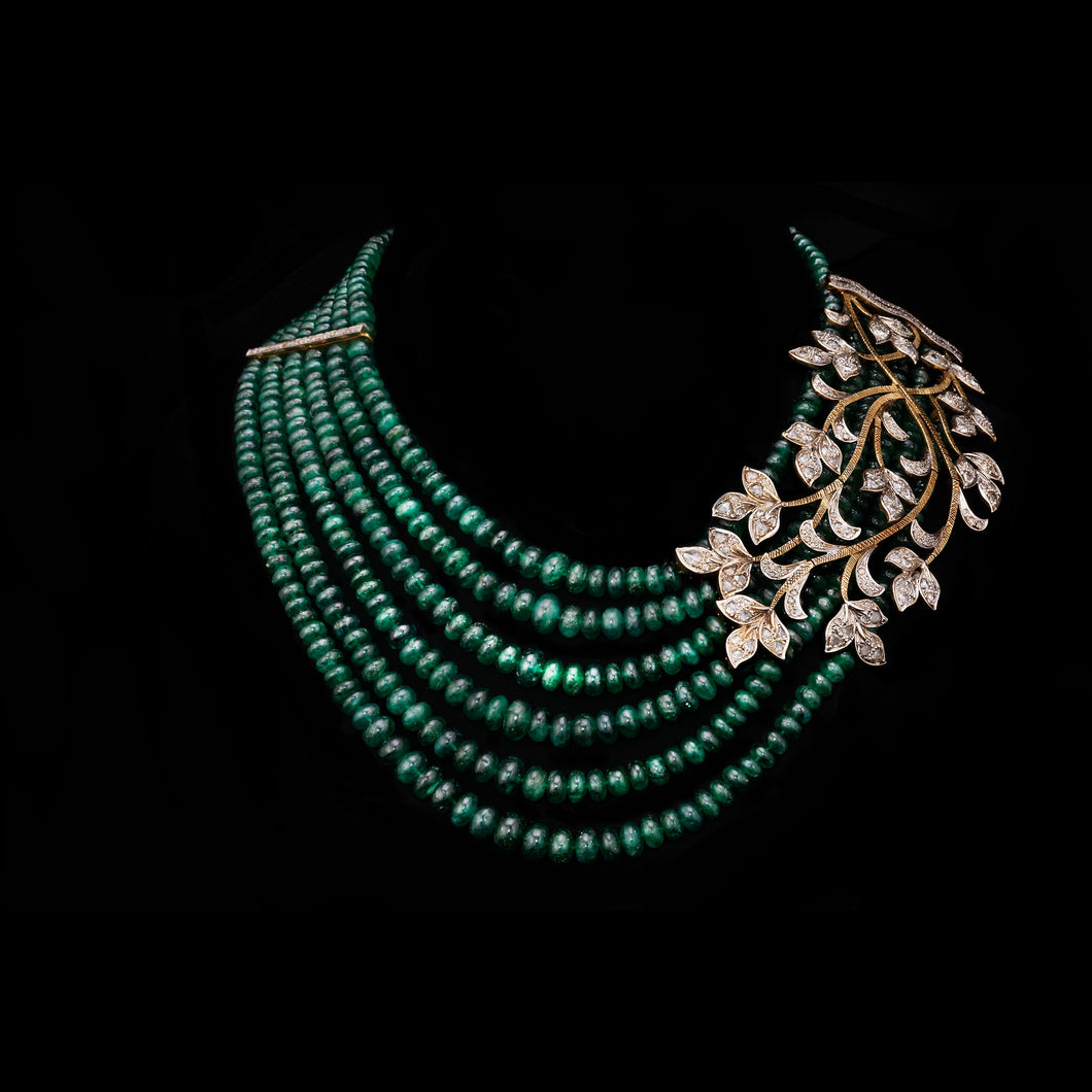 Emerald & Rosecut Diamond Necklace