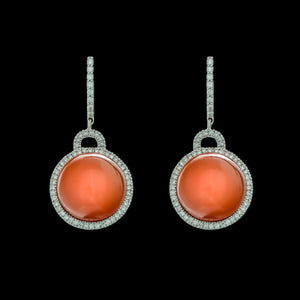 Firestorm Orange Chalcedony & Diamond Earrings
