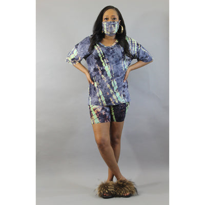 Mint Green Tie Dye Set w Mask - LeAmore Boutique