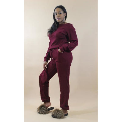 Stay With Me Jumpsuit w Mask - Burgundy - LeAmore Boutique