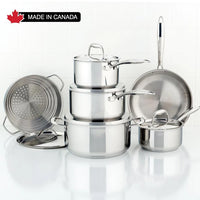 Meyer - 10 Pc Accolade Series Cookware Set - 2201-10-00. Stainless Steel, Made in Canada. Tax included limited time.