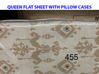 Queen flat sheet with 2 pillow cases 100% cotton. Made in Pakistan $20 tax included.