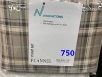 King size flannel sheet sets 100% cotton. Made in Pakistan. $35.40+tax=$40