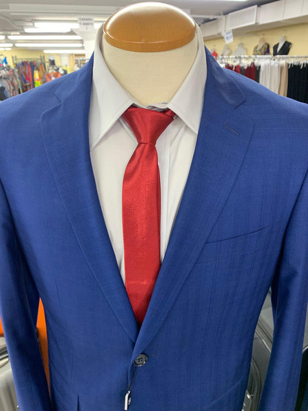 MEN'S SUITS (SMART FIT SUITS) BLUE SELF DESIGN