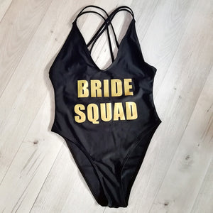 Bride Squad Babewatch Suit. Gold Text.