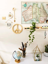 Load image into Gallery viewer, A child's bedroom wall displays a large map of Australia. Underneath sits a simple pine shelfie with various toys and ornaments displayed. A white cabinet sits below.