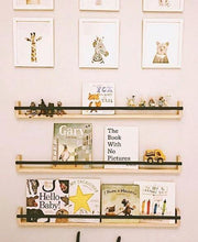 Load image into Gallery viewer, a pale pink wall with three black shelves displaying books and figurines. Framed prints of zoo animals hang above.