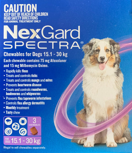 Nexgard Spectra Chewables for Dogs 15.1 - 30kg 3 Pack