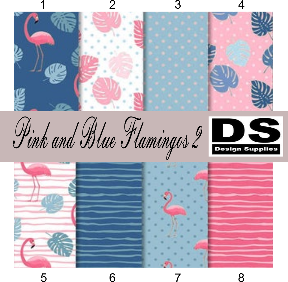 Pink and Blue Flamingos 2