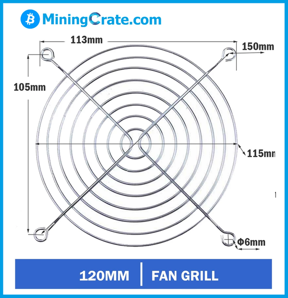 MiningCrate.Com NEW chrome fan grill finger guard for ALL ASIC miners Antminer Whatsminer Innosilicon TWO pair