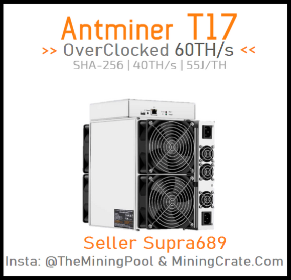 Antminer T17 In USA - Overclocked Firmware No Dev Fee - up to 90TH/s - Mining Crate exclusive