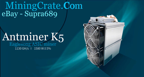 Antminer K5 - CKB Eaglesong BITMAIN ASIC - IN HAND MiningCrate Tuned 1.7TH