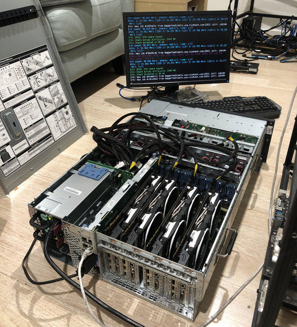 MiningCrate.Com - ADVANCED+ Mining evolved triple miner MiningCrate MultiMiner Mines 3x Filecoin ETH GPU  Dero/XMR CPU Crypto Mining Rig 4x GPU RX570 4GB Cards AND HP XEON 128thread 12GH/z total 4x CPUs dedicated harddrives SIACOIN FILECOIN🔥