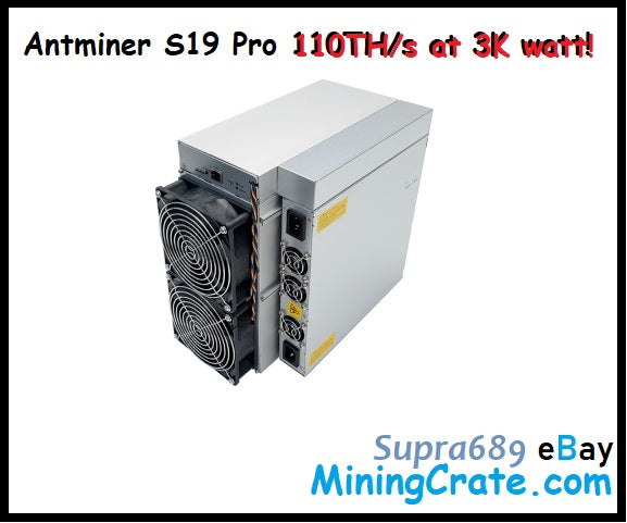 Antminer S19 Pro PRE ORDER - 110TH/s at 3k watt! - MiningCrate S19 S19 Pro FOR SALE