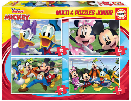 Disney, Mickey & Friends Multi 4 Puzzles 20, 40, 60 y 80 piezas - Educa Borrás 18627