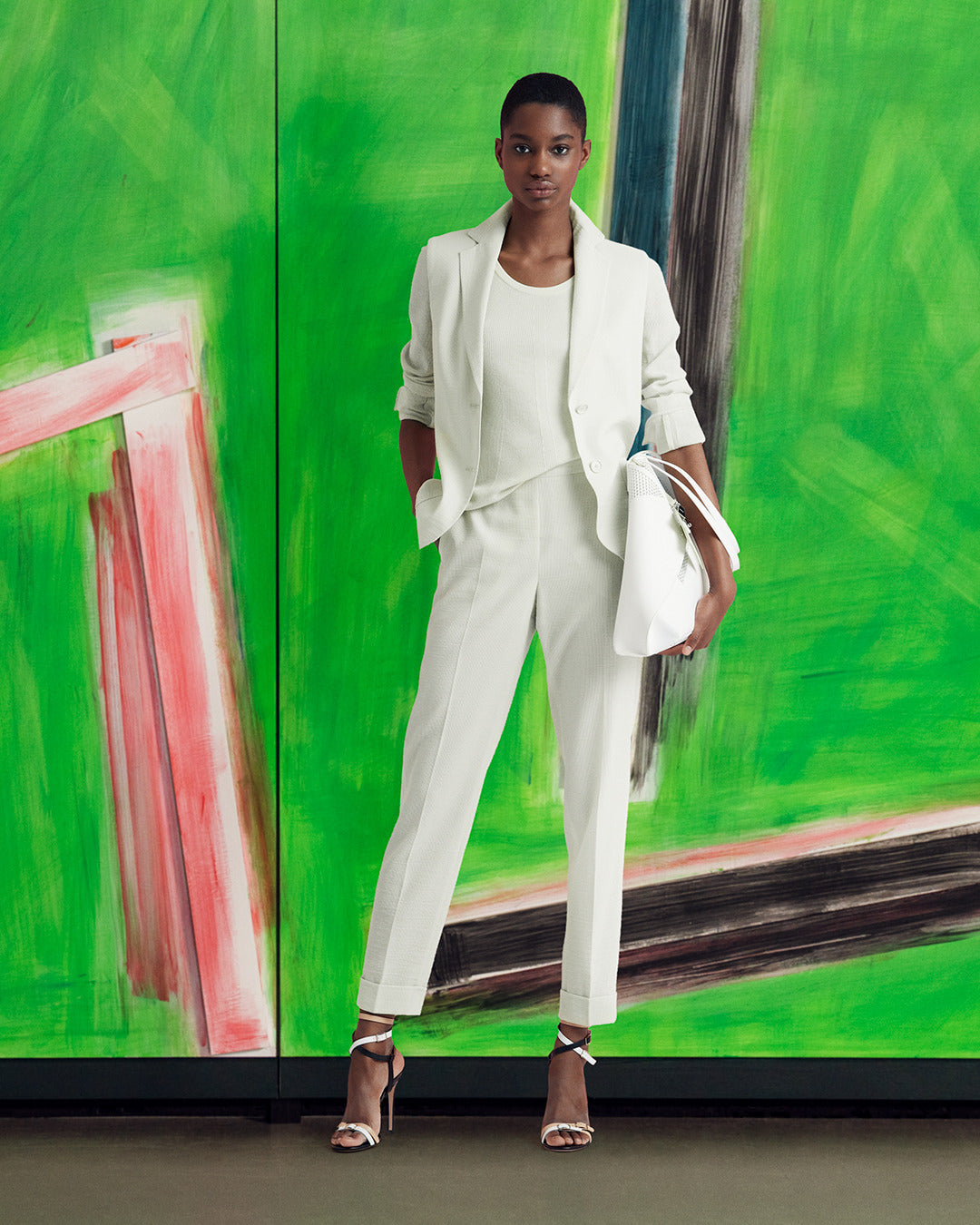 White pants and blazer for women