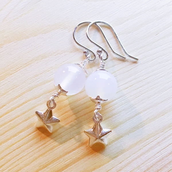 """Pure"" White Agate Silver Earrings"
