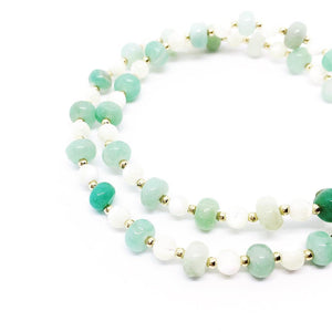 """Soothing"" Amazonite, Mother of Pearl, & 14K Gold Filled Bracelet"