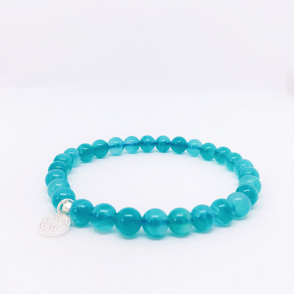 """Tranquility"" Amazonite Bracelet with Sterling Silver Charm"