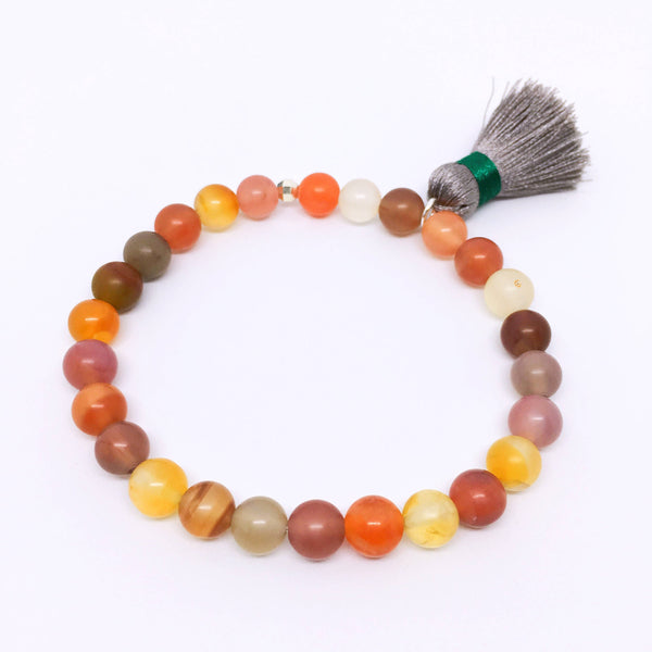"""Shire"" Yanyuan Agate Bracelet, with Sterling Silver & Tassel"