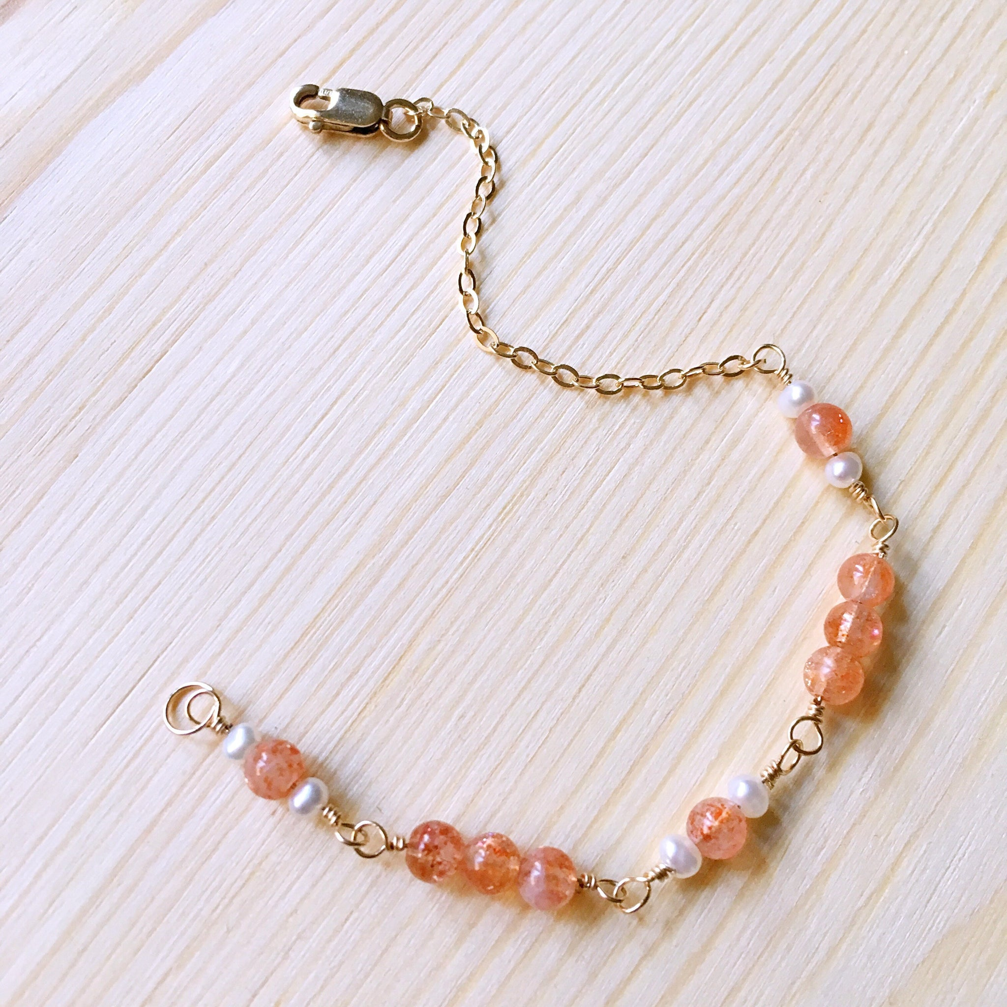 """Sun Kissed"" Sunstone Pearl 14K Gold-filled Bracelet"