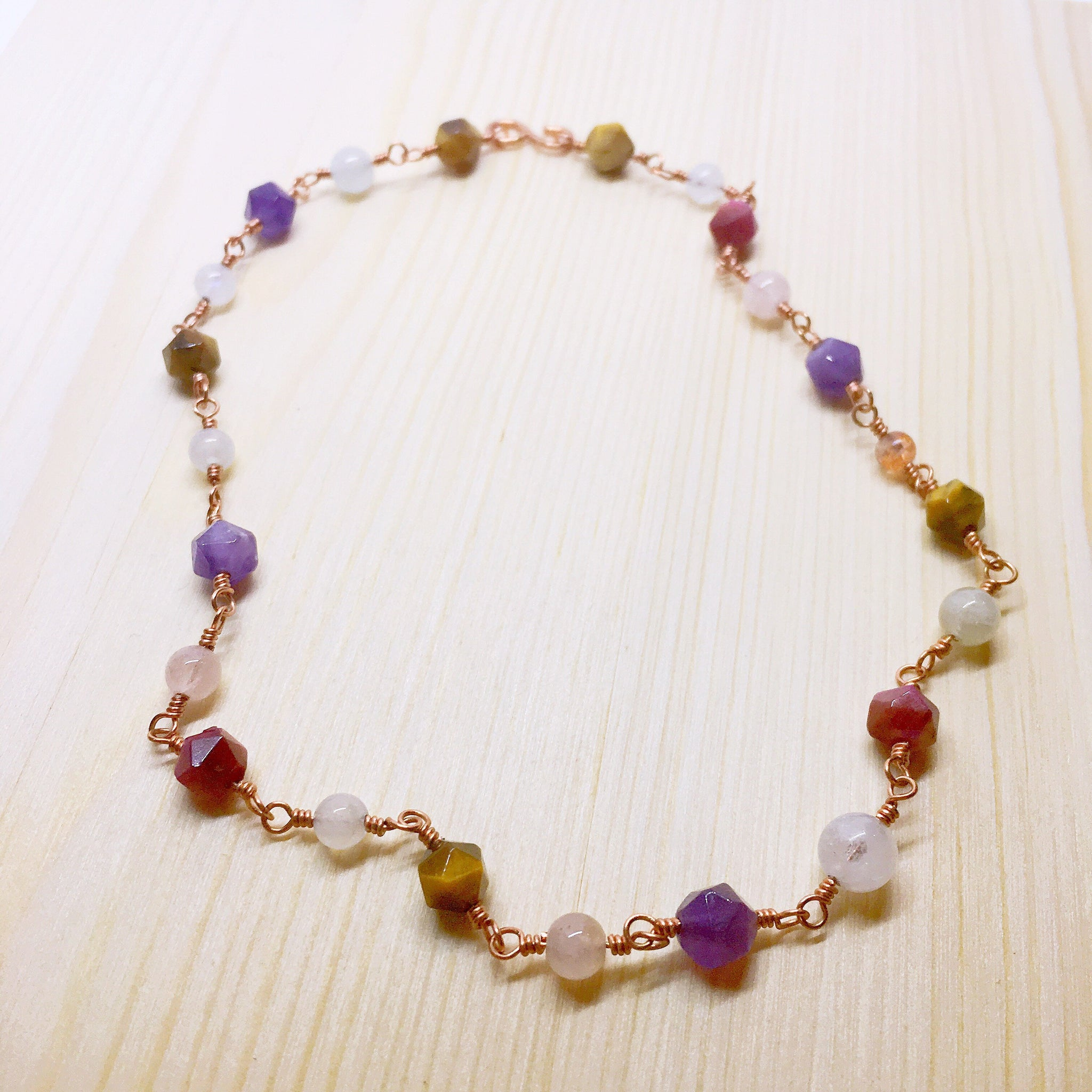 """Cosmopolitan"" Tiger's eye Amethyst Morganite Moonstone Sunstone Cooper Hand Wired Choker"