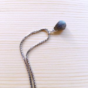 """Neo-vintage"" Labradorite Silver Short Necklace"