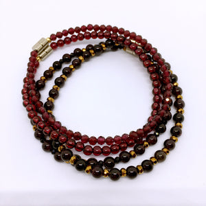 """Aroma"" Dark Burgundy Garnet Beaded Bracelet with Black Spinel & Pyrite"