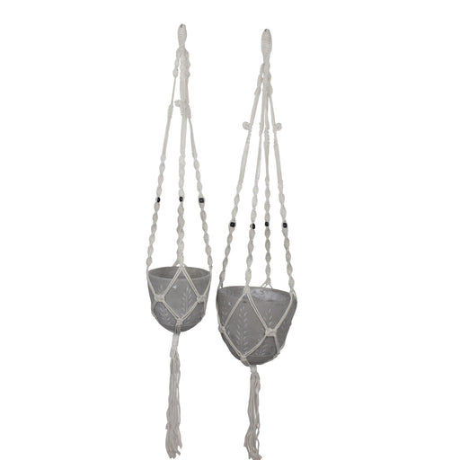 Dart Feather Pot & Hanger Cement 19x17cm