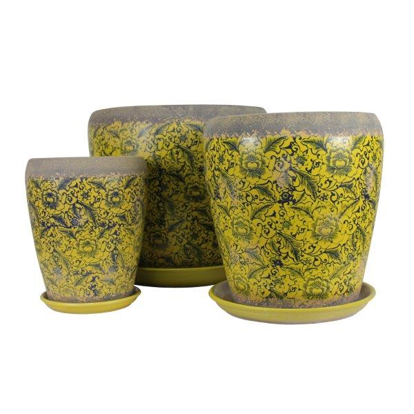 Tang Rustica Tall Planter Yellow SET3