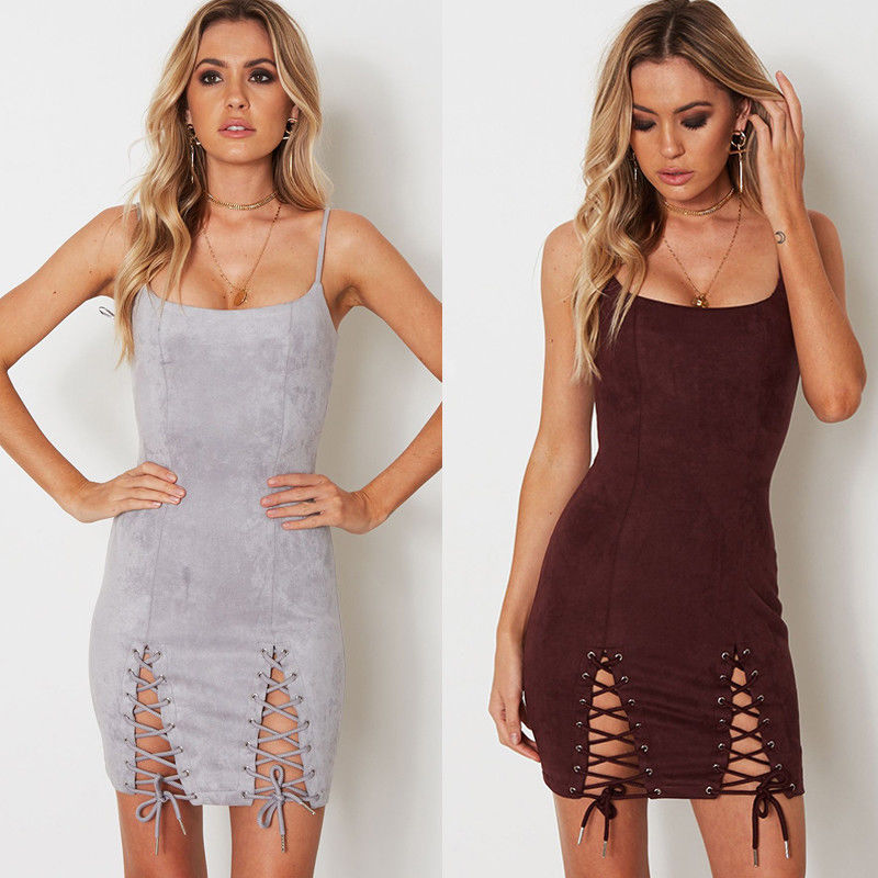 4a12ffad28408 Women Summer Sexy Sleeveless Spaghetti Strap Bodycon Evening Party Mini  Dress Stylish Womens Slim Bandage Mini Dresses