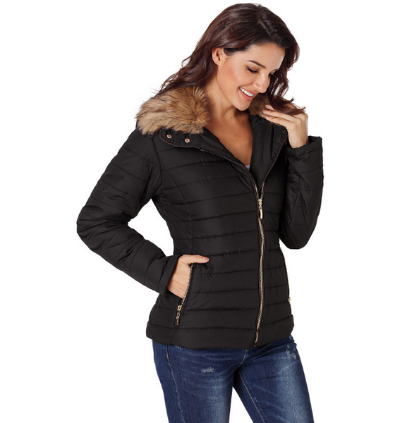 355da5542 Women's Faux Fur Jackets Winter Coat Quilted Down Jacket With Zipper