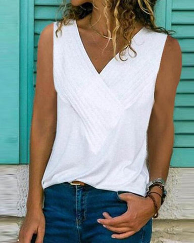 V Neck Sleeveless Plain T-Shirts