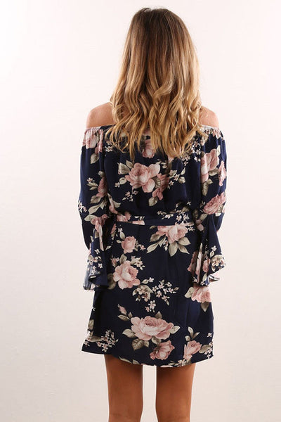 Off Shoulder  Asymmetric Hem  Belt Loops  Printed  Three Quarter Sleeve Casual Dresses