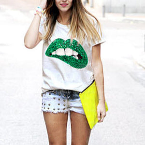 Round Neck Lips Glitter T-Shirts