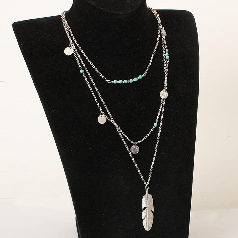 Simple Turquoise Beaded Sequin Multilayer Necklace