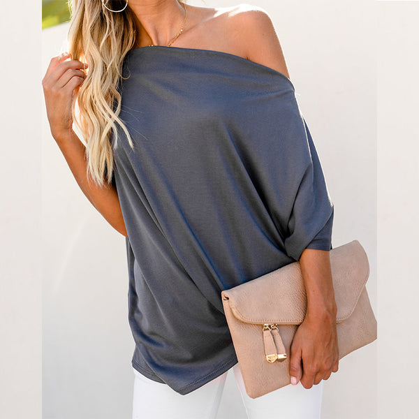 Sexy One Shoulder Plain Pleated Loose Casual T-Shirts