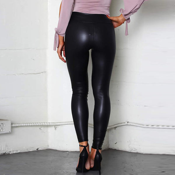 Fashion High-Waist PU Plain Leggings Pants