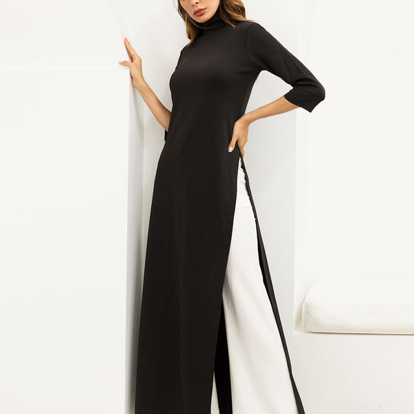 Knit Stretch Side Slit High Neck Long Dress