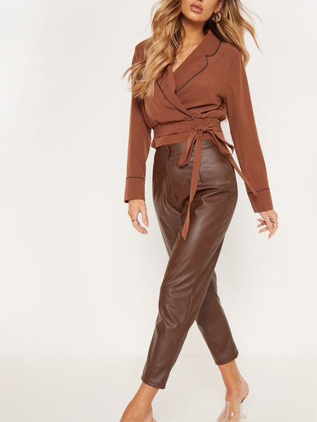 Fashion Turndown Collar Belted Pure Colour Blouses