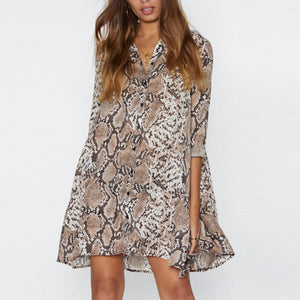 V Neck  Animal Printed  Long Sleeve Casual Dresses