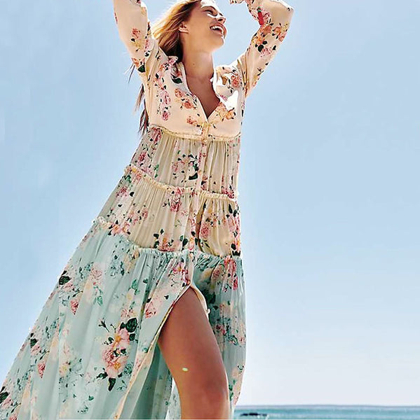 Bohemian Splicing Floral High-Waist Maxi Dresses